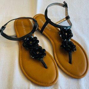 Rampage Black Flower Sandals